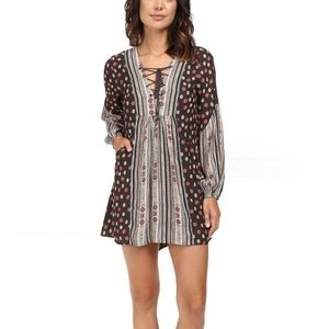 Free People Rain or Shine Black Floral & Stripes
